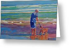 Dog Beach Play Greeting Card