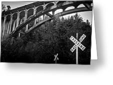 Dog Creek Bridge Railroad  Crossing Greeting Card