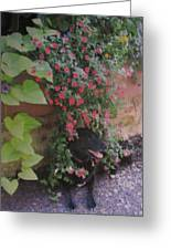 Dog In Bloom Greeting Card