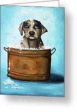 Dog N Suds Greeting Card by Leah Saulnier The Painting Maniac
