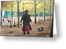 Dog Walker In A Paris Park Greeting Card