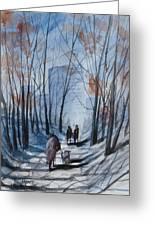 Dog Walking 2, Watercolor Painting Greeting Card