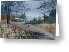 Dog Walking, Watercolor Painting  Greeting Card
