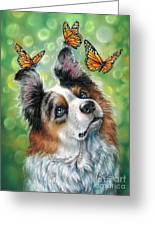 Dog With Butterflies Greeting Card