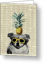 Dog With Goggles And Pineapple Greeting Card
