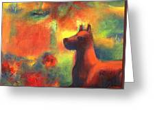 Dog With Red Flowers Greeting Card