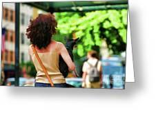 Dog Woman Walk Nyc Paint  Greeting Card