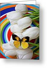 Dogface Butterfly On White Tulips Greeting Card by Garry Gay