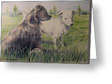 Dogs In A Field Greeting Card