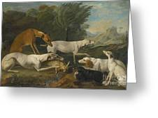 Dogs In A Landscape With Their Catch Greeting Card