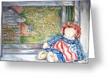 Doll In Window 2 Greeting Card