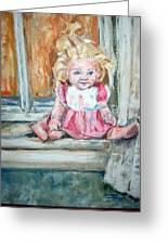 Doll In Window Greeting Card