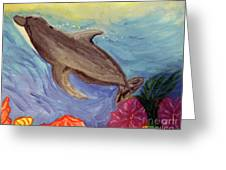 Dolphin Surfacing Greeting Card
