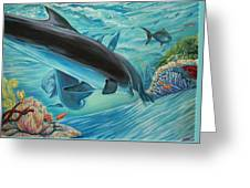 Dolphins At Play Greeting Card