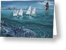 Dolphins In Corpus Christi Bay Greeting Card