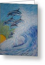 Dolphins Jumping In The Waves Greeting Card