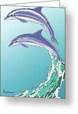Dolphins Jumping Out Of The Water Greeting Card