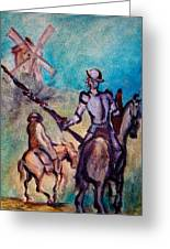 Don Quixote With Windmill Greeting Card