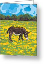Donkey And Buttercup Field Greeting Card