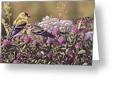 Don't Bug Us - Goldfinches Monarch Butterfly Greeting Card