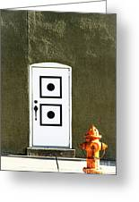 Door And Orange Hydrant  Greeting Card