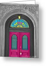 Door Fushia Greeting Card