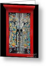 Door Gods With Red Door Frame Greeting Card