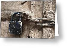 Door Lock And Chain Greeting Card