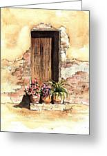 Door With Flowers Greeting Card