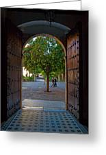 Doorway And Arch Between Gardens Greeting Card