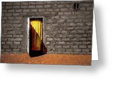 Doorway To A Yellow Curtain Greeting Card
