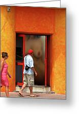 Doorway Undressing Greeting Card by Harry Spitz