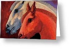 Dos Equus Greeting Card by Bob Coonts