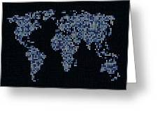 Dot Map Of The World - Blue Greeting Card by Michael Tompsett