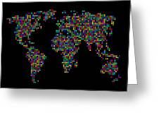 Dot Map Of The World - Multi Colours Greeting Card