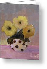 Dotted Vase With Yellow Flowers Greeting Card