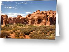 Double Arch Famous Landmark In Arches National Park Utah Greeting Card