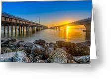 Double Bridge Sunrise - Tampa, Florida Greeting Card