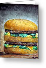 Double Burger To Go Greeting Card