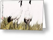 Double Crane Greeting Card