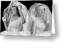Double Exposure Portrait Of Bride Greeting Card