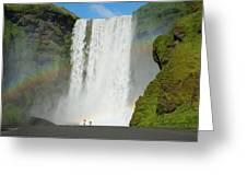 Double Rainbow By Skogafoss Waterfall Greeting Card