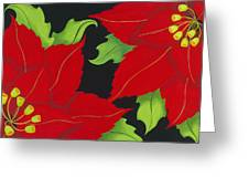 Double Red Poinsettias Greeting Card