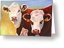 Double Trouble Hereford Cows Greeting Card