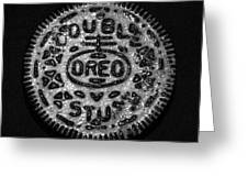 Doulble Stuff Oreo In Black And White Greeting Card