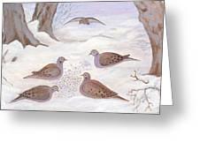 Doves In New York - Winter Greeting Card by Anna Folkartanna Maciejewska-Dyba
