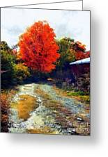 Down A Country Road - Autumn Greeting Card