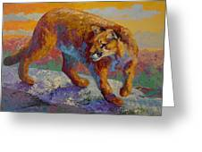 Down Off The Ridge - Cougar Greeting Card