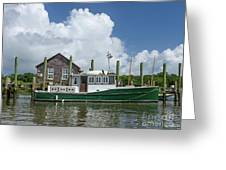 Downeast Style Yacht Docked On Shem Creek In Charleston Greeting Card