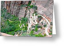 Downhill Switchbacks From Angels Landing Greeting Card